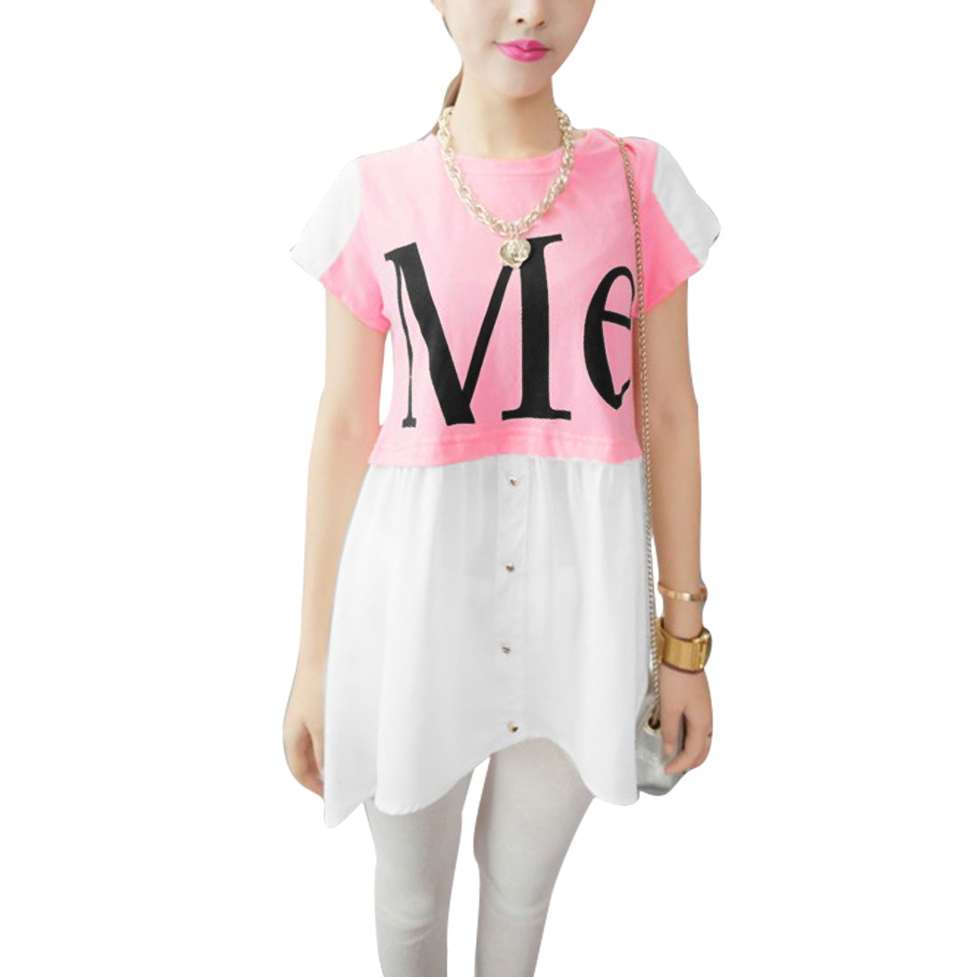 S Women Short Sleeve Round Neck Letters Pattern Tunic Shirt Pink White