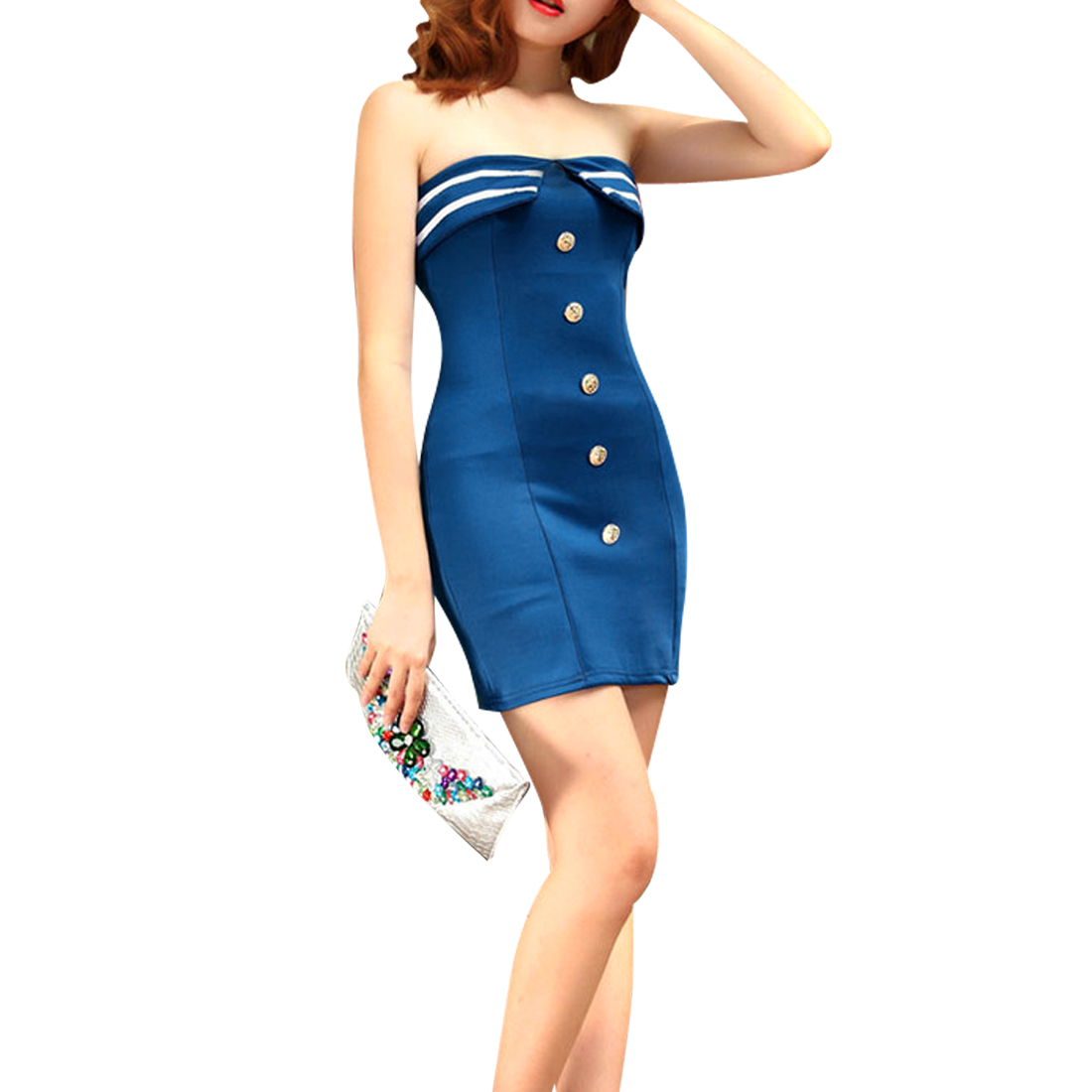Woman Strapless Design Concealed Zipper Back Royalblue Sexy Mini Dress XS