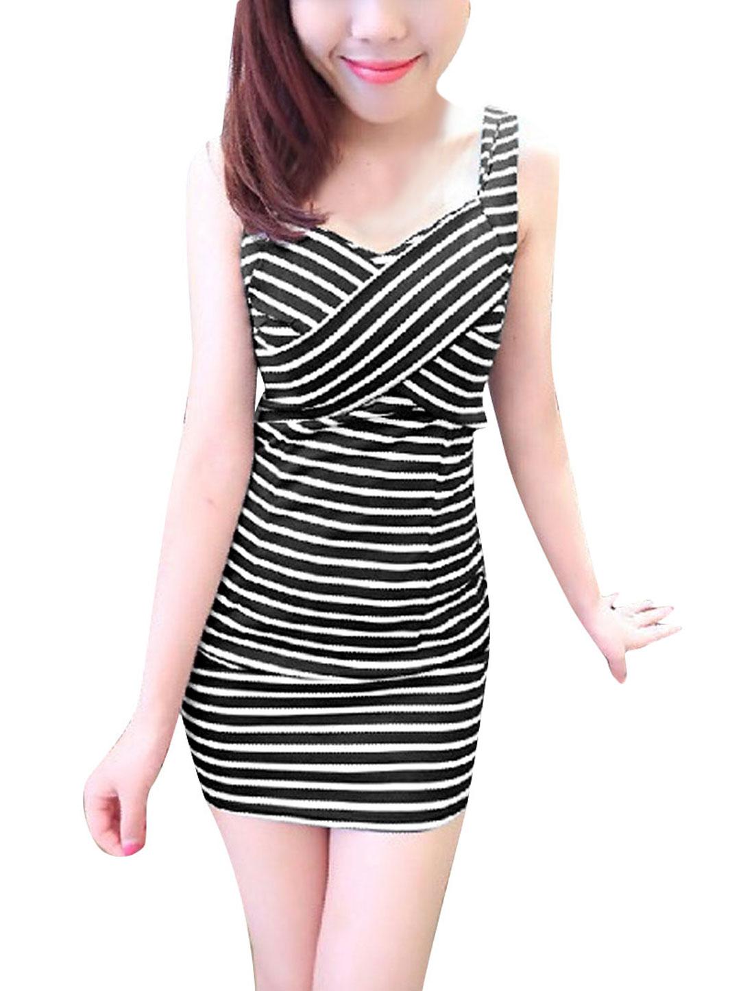 Woman Shoulder Straps Design Concealed Zipper Back Black Striped Mini Dress XS