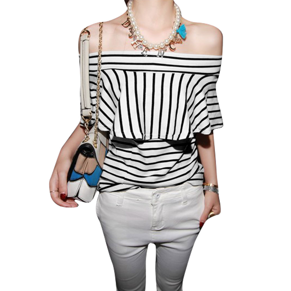 Ladies XS Black White Stripes Print Off Shoulder Stretchy Two Tone Blouse