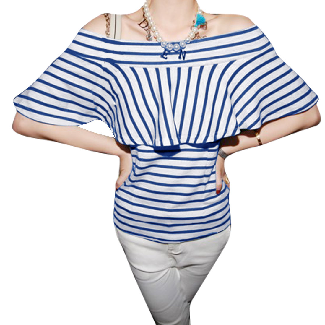Women Off Shoulder Stripes Pattern Strapless Style Blouse White Blue XS