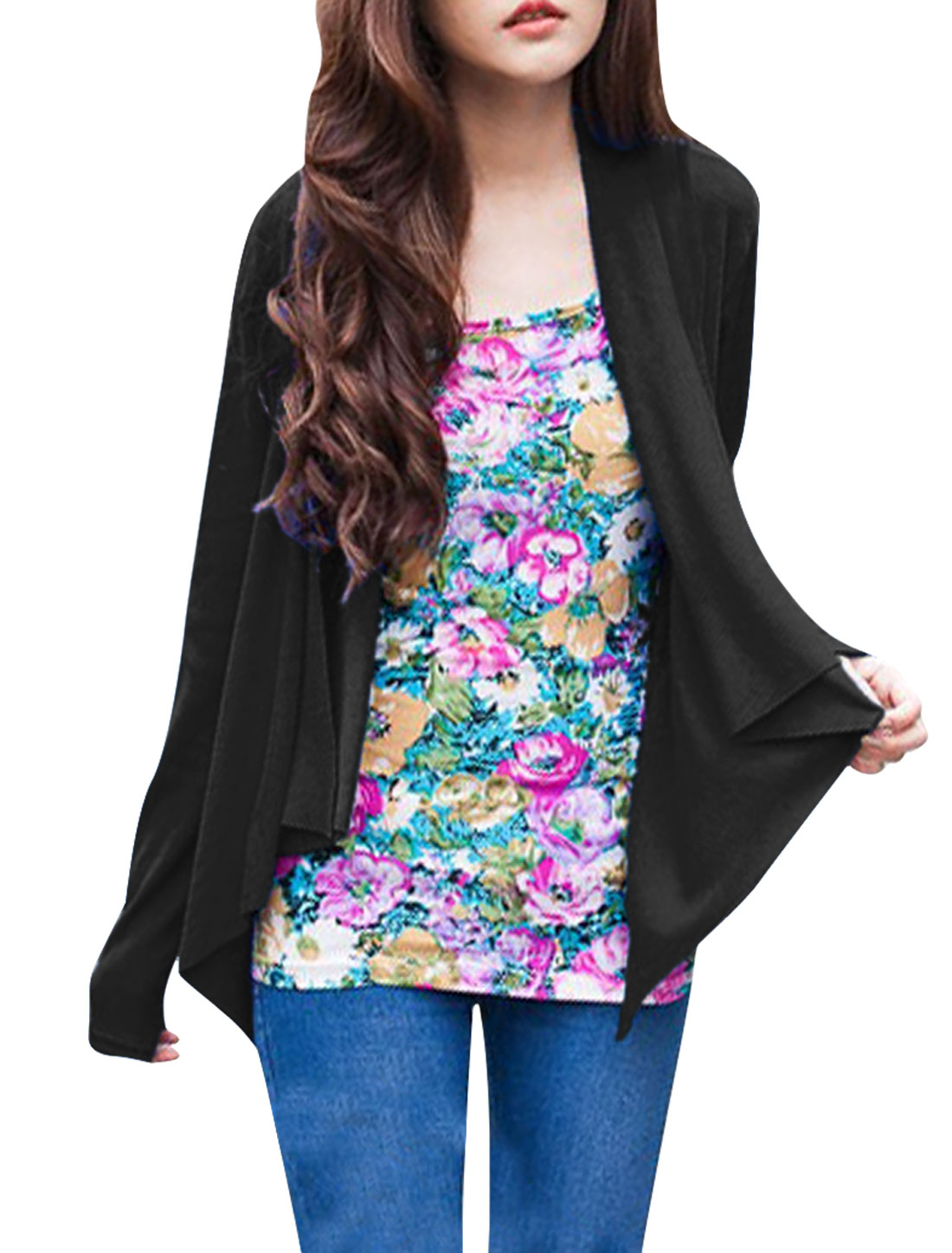 Ladies Long Sleeve Open Front Draped Design Solid Black Spring Cardigan XS