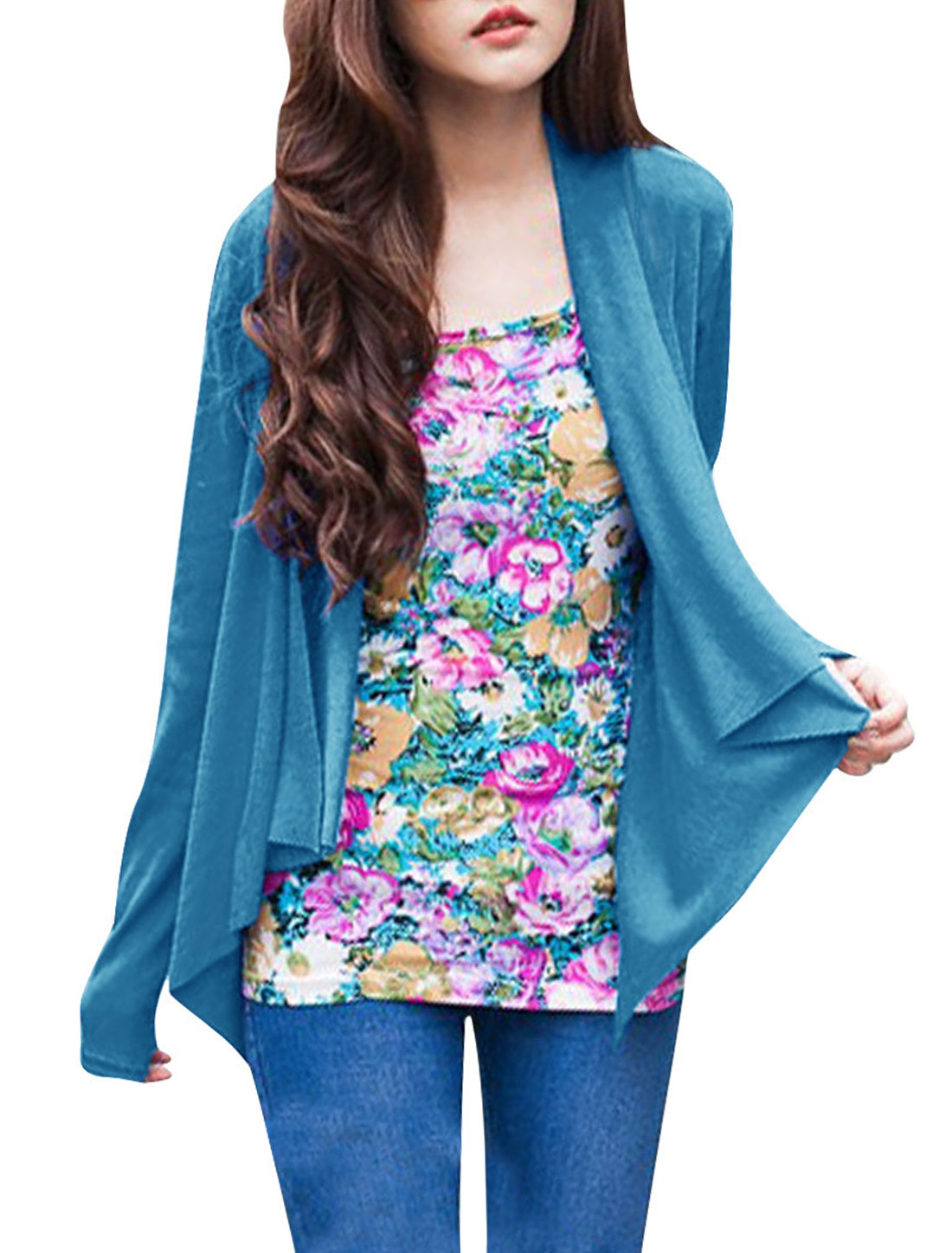 Woman NEW Open Front Design Solid Color Sea Blue Spring Cardigan XS