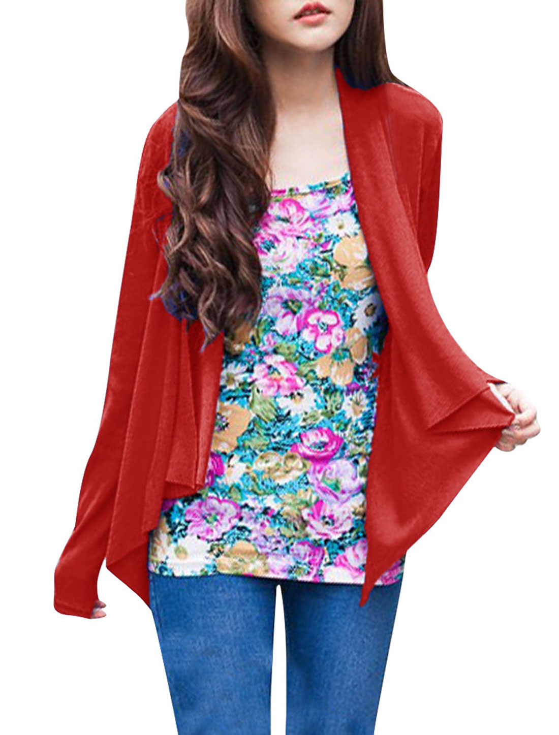 Lady Chic Red Color Front Opening Draped Design Casual Spring Cardigan XS