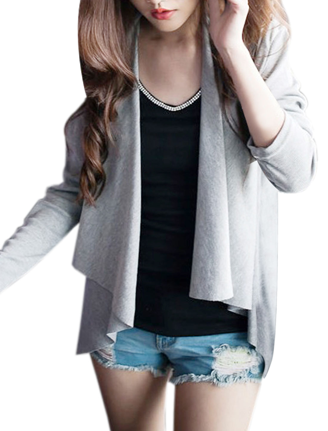 Open Front Design Heather Gray Color Long Sleeve Casual Cardigan for Lady XS