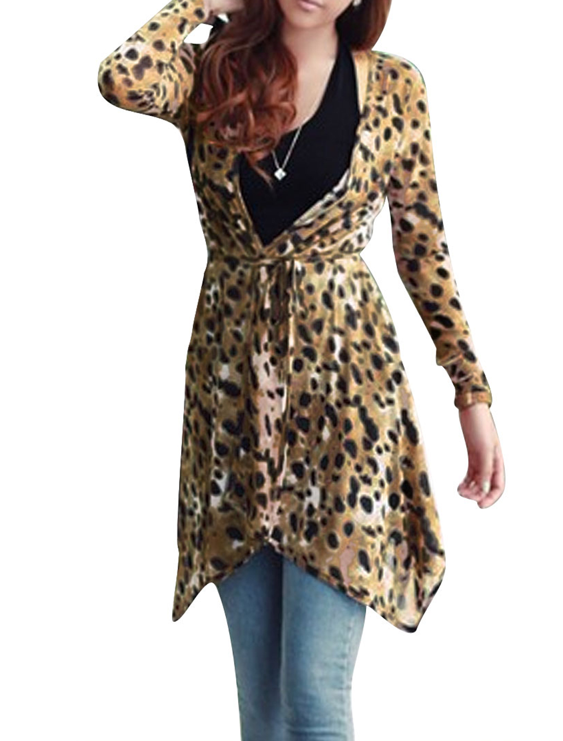 Ladies Long Sleeve Stretchy Leopard Pattern Design Fashion Cardigan S Brown