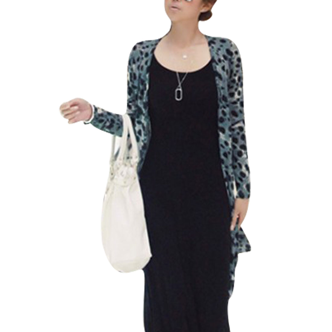 Women Long Sleeve Style Slim Fit Leopard Pattern Sexy Casual Cardigan Grey S