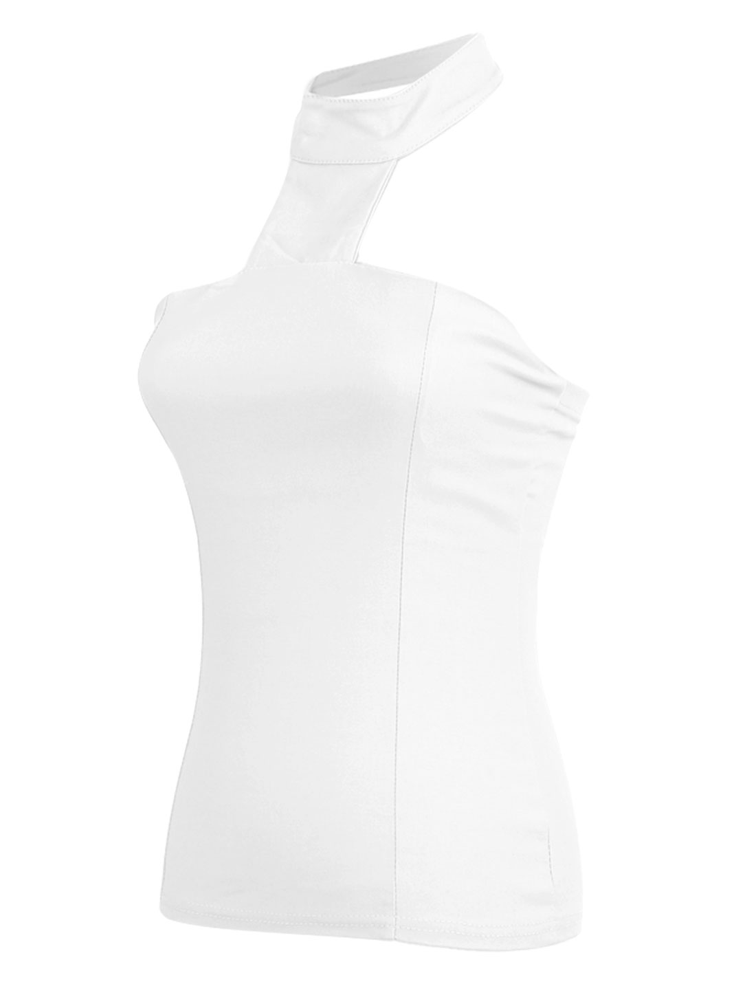 Ladies Pure White Color Halter Neck Fake Crystal Button Decor Back Tops XS