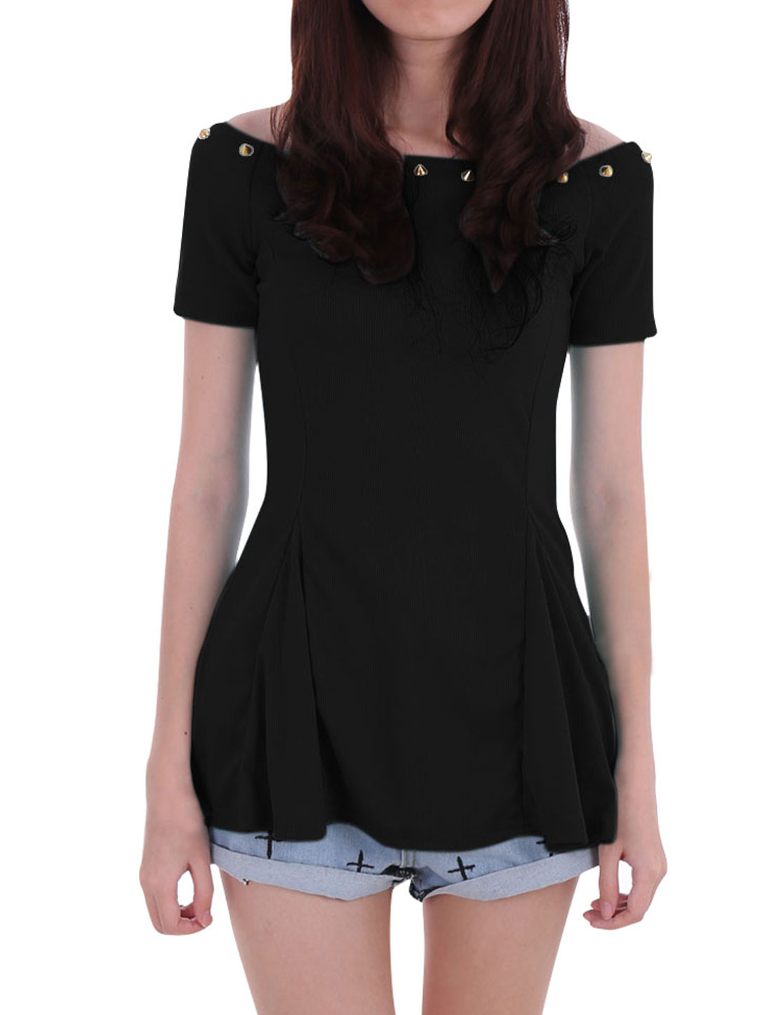 Ladies Chic Boat Neck Short Sleeve Rivets Decor Black Peplum Tops XS