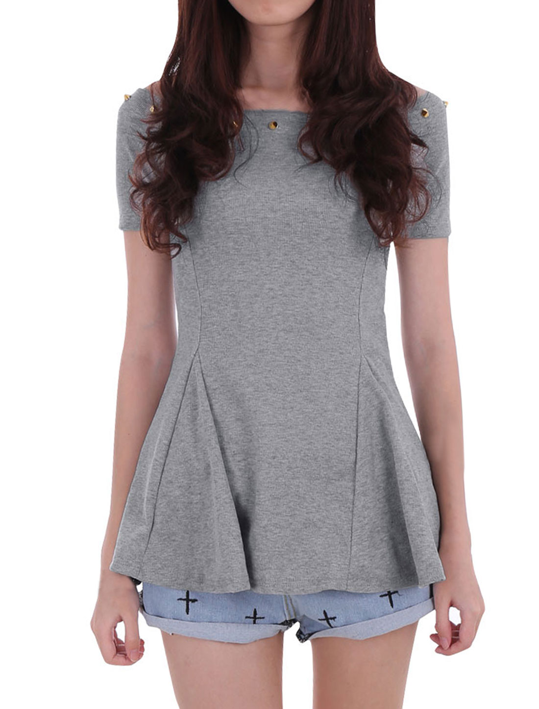 Lady Heather Gray Color Boat Neck Short Sleeve Off-Shoulder Peplum Top XS