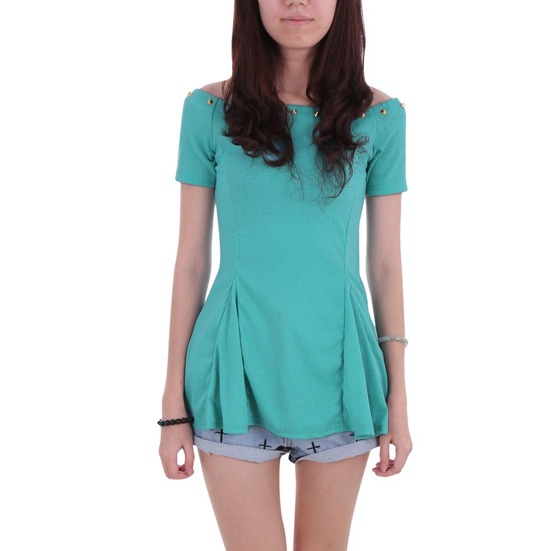 Women Boat Neck Off-Shoulder Rivets Decor Mint Color Peplum Top Shirt XS