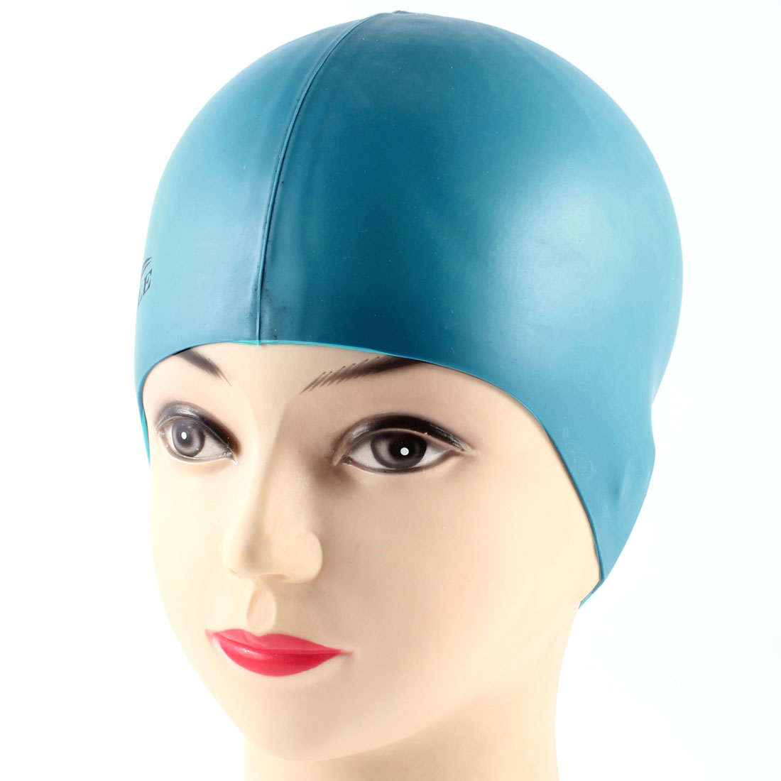 Adults Stretchy Dome Shaped Silicone Swimming Diving Swim Cap Hat Teal Blue