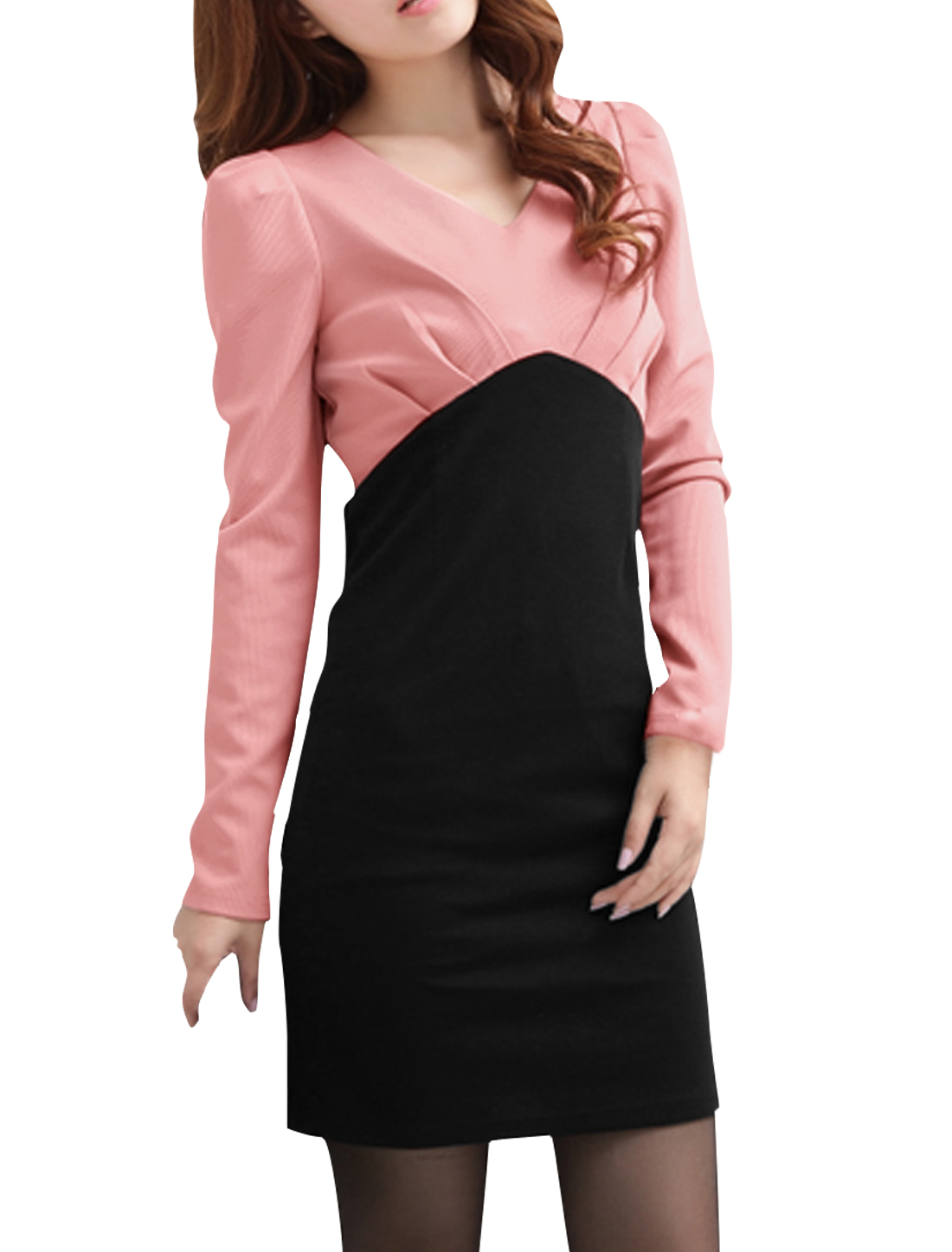 Ladies Chic V Neck Long Sleeve Color Blocking Pink Black Mini dress L