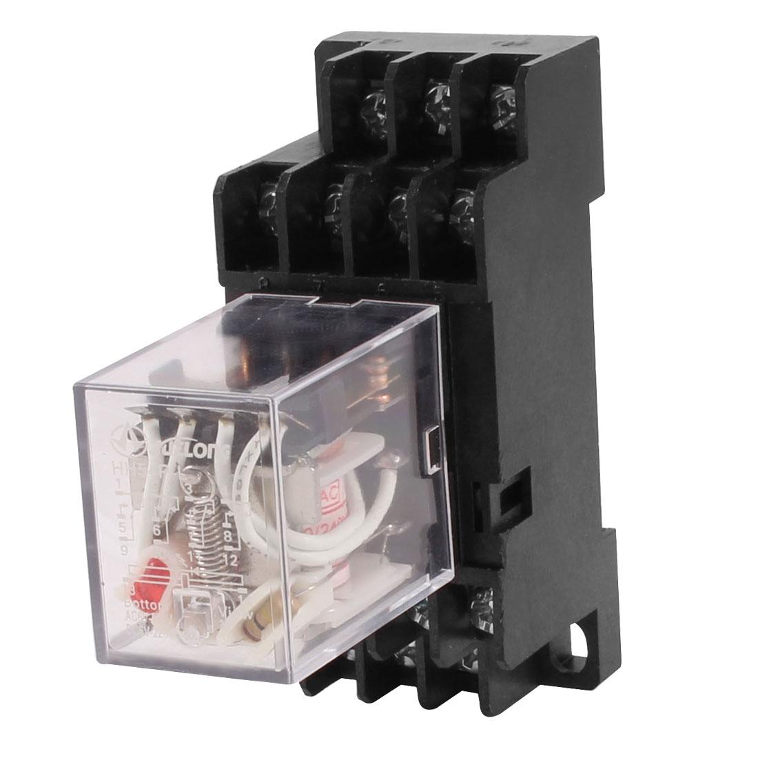 5A 250V AC DIN Rail Mount 14 Screws 4PDT General Power Relay w Socket