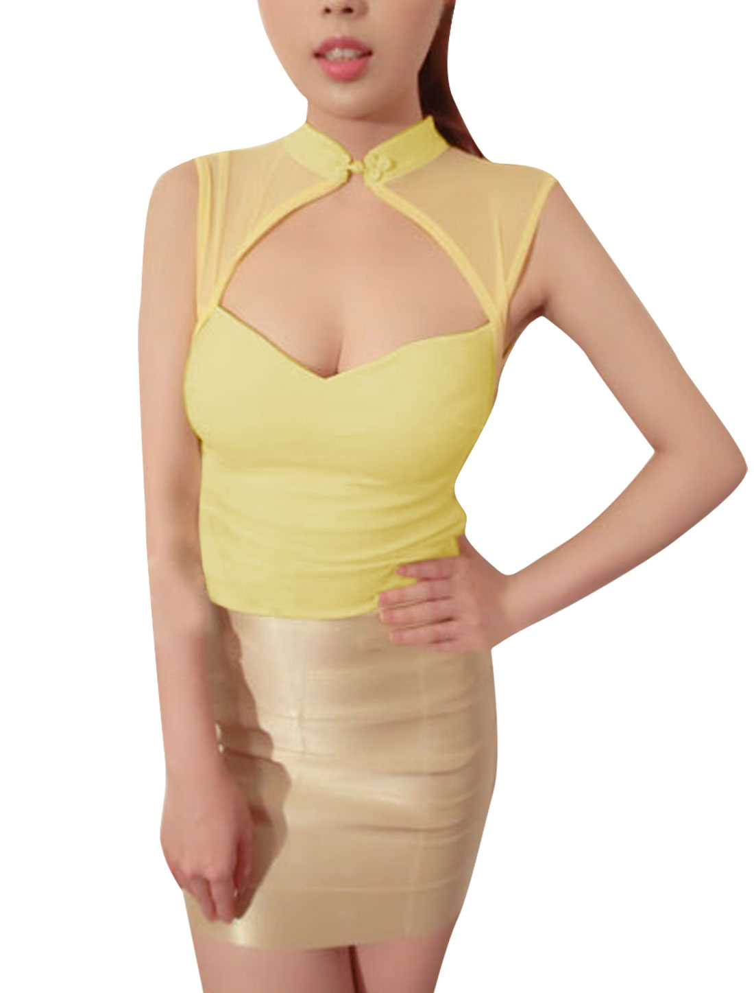 Women Stand Collar Chinese-Knot Button Front Cutout Detail Light Yellow Top XS