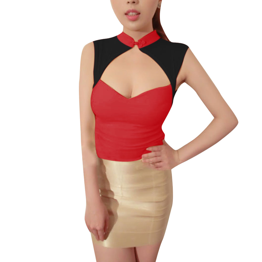 Ladies Stand Collar Chic Chinese-Knot Button Front Red Black Mesh Splice Tops XS