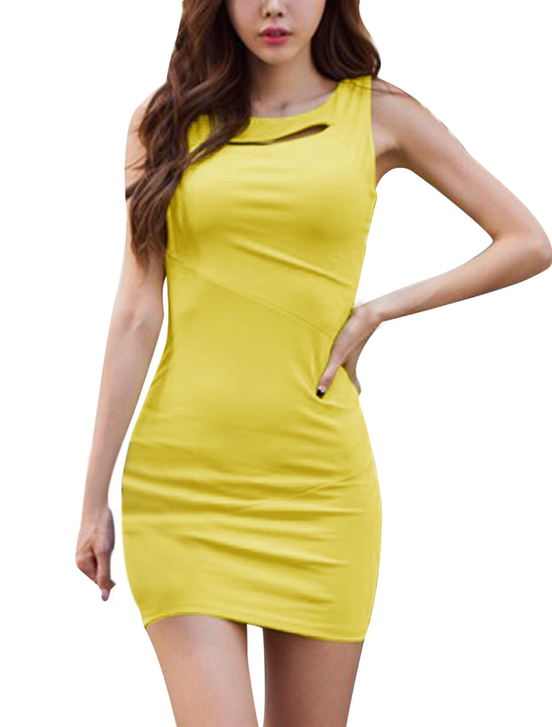 Women Round Neck Cutout Front Design Slim Fit Yellow Sexy Mini Dress XS