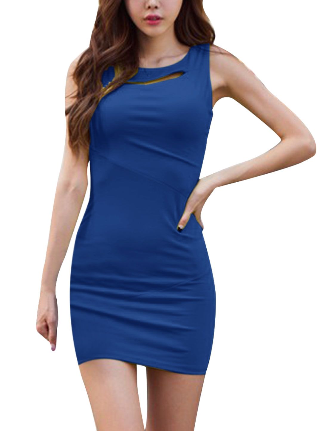 Ladies NEW Round Neck Sleeveless Cutout Front Detail Royalblue Mini Dress XS