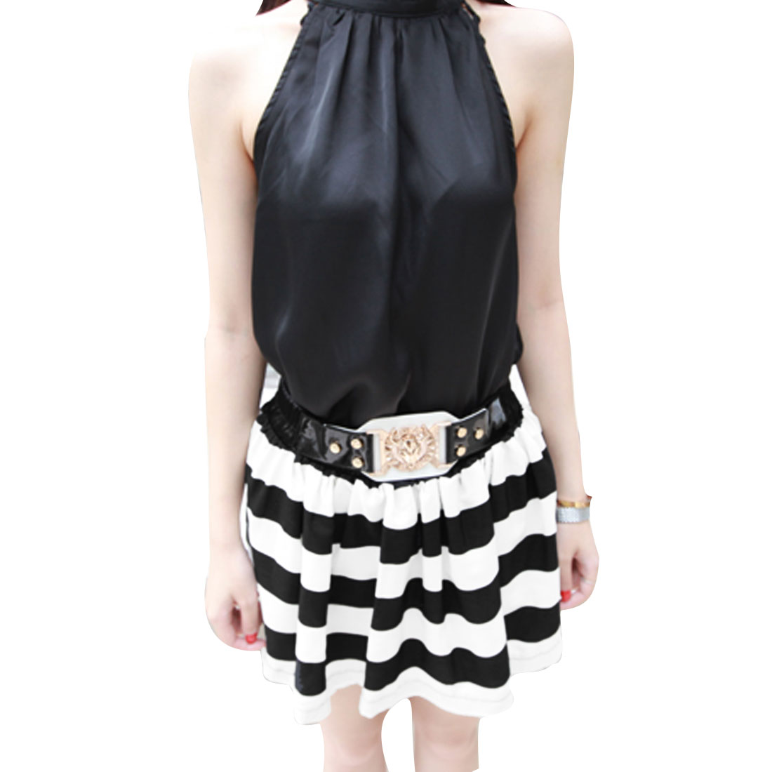 Women Elastic Waist Color Block Stripes Pattern Summer Skirt Black White S