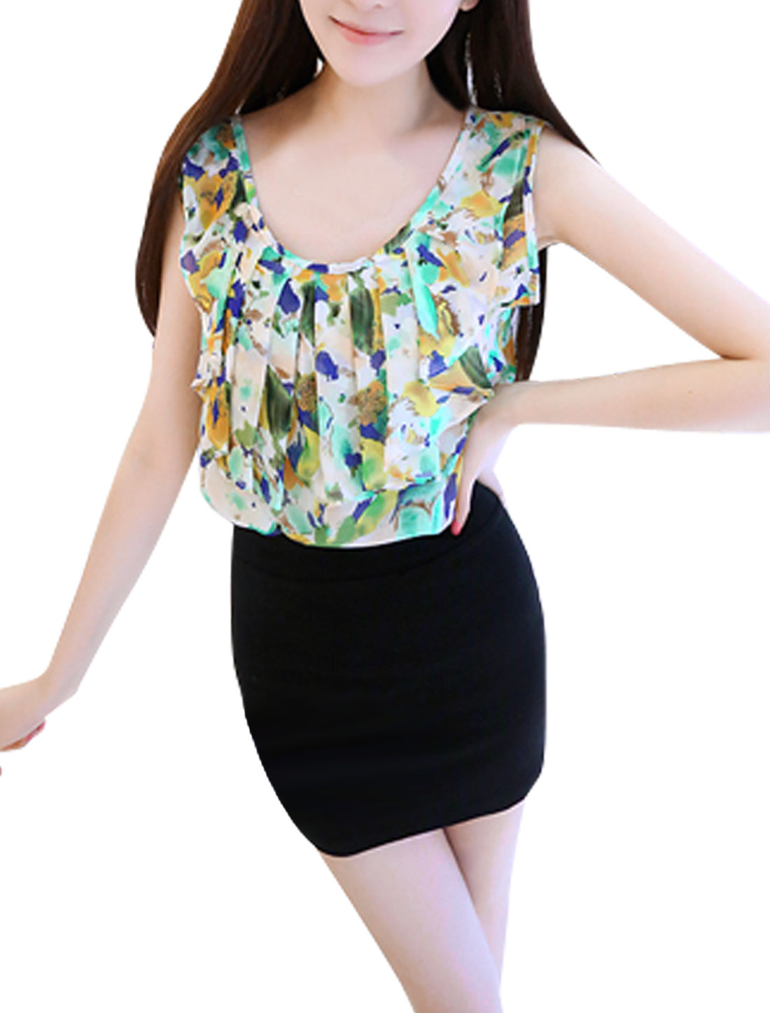 Ladies Sleeveless Style Semi Sheer Multicolor Blouse Top Green S