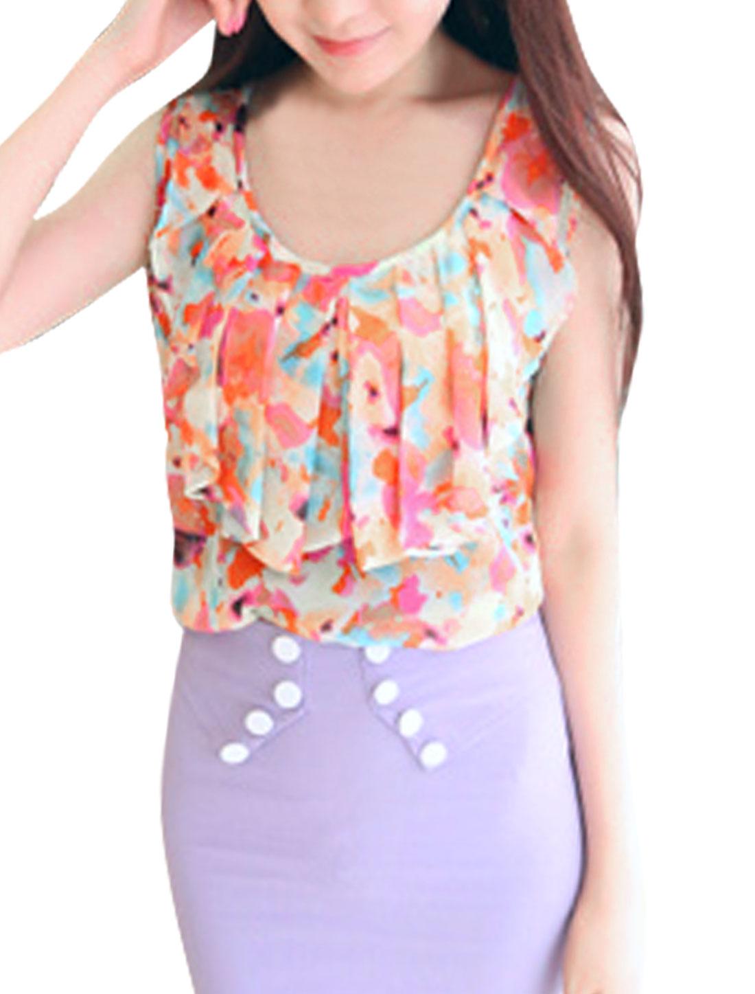 Women Asymmetric Neck Floral Pattern Sleeveless Design Top Blouse Orange S