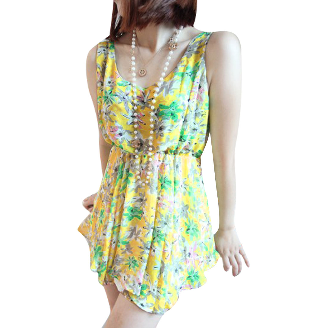 XS Ladies Floral Pattern Design Top w Stretchy Waist Shorts Yellow