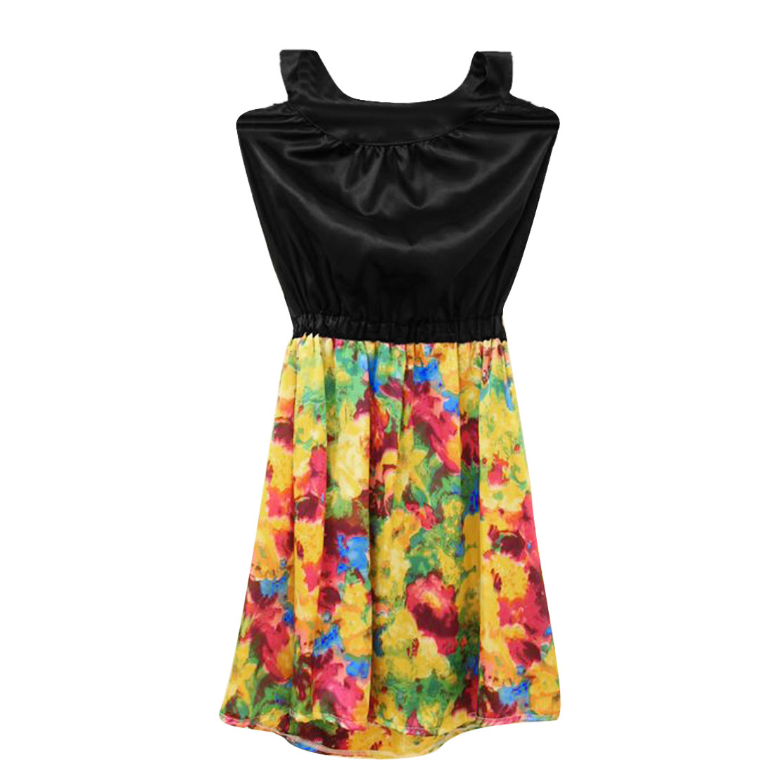 Ladies Summer Backless Floral Printed Multicolor Sexy Dress XS