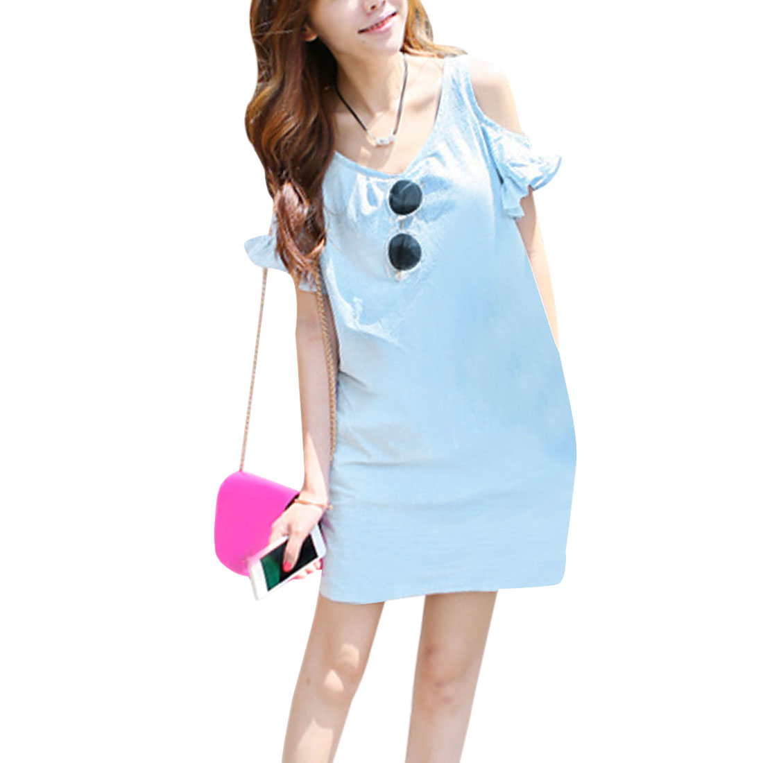 Ladies Baby Blue Cutout Sleeve Cute Flounce Cuffs S Dress