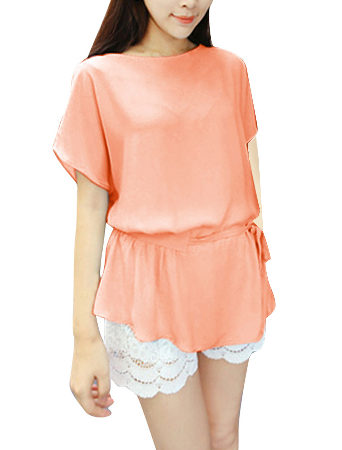 NEWS Women Batwing Sleeve Pullover Casual Blouse Pink M
