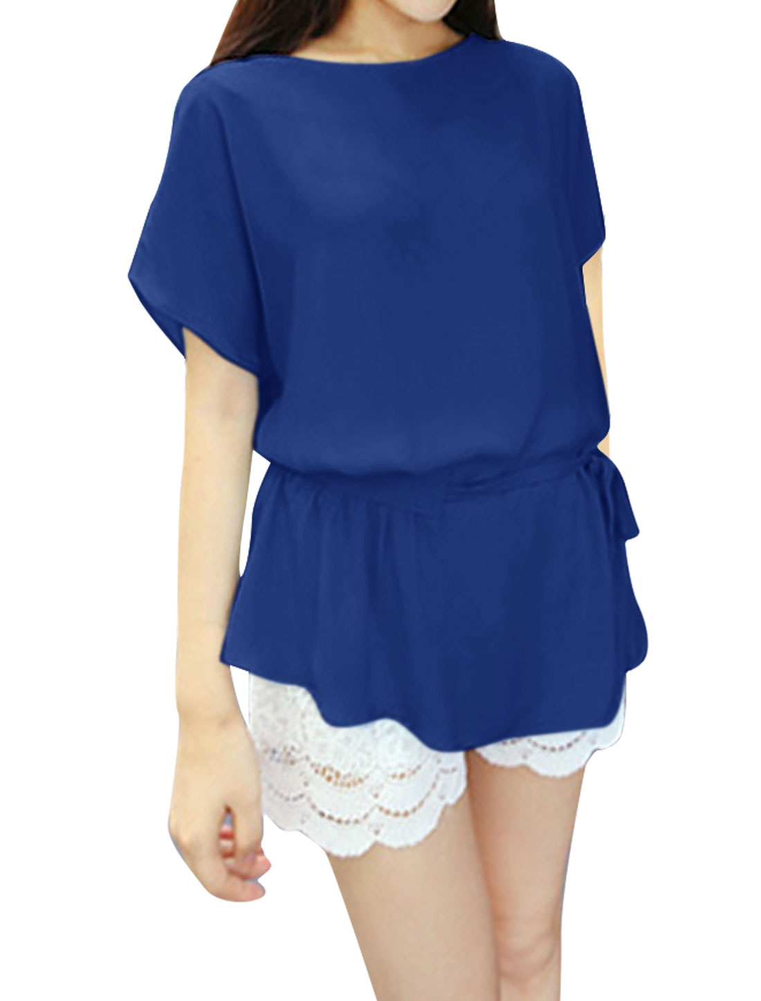 Women Batwing Sleeve Semi Sheer Summer Blouse Royal Blue M