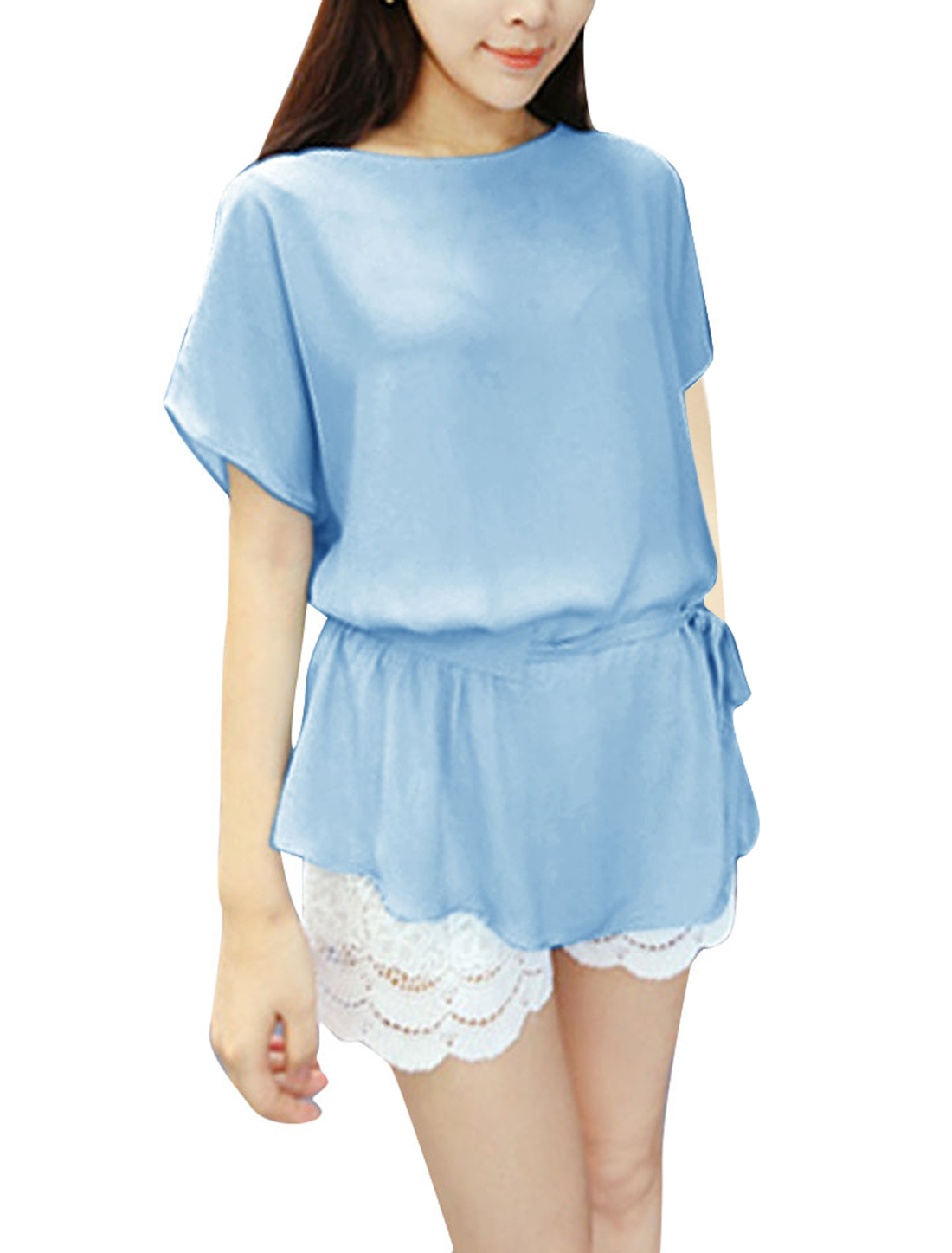 Women Round Neck Loose Leisure Blouse Baby Blue M