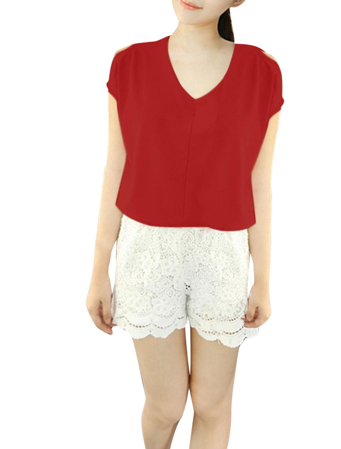 Women Deep V Neck Cut Out Semi Sheer Top Shirt Red S