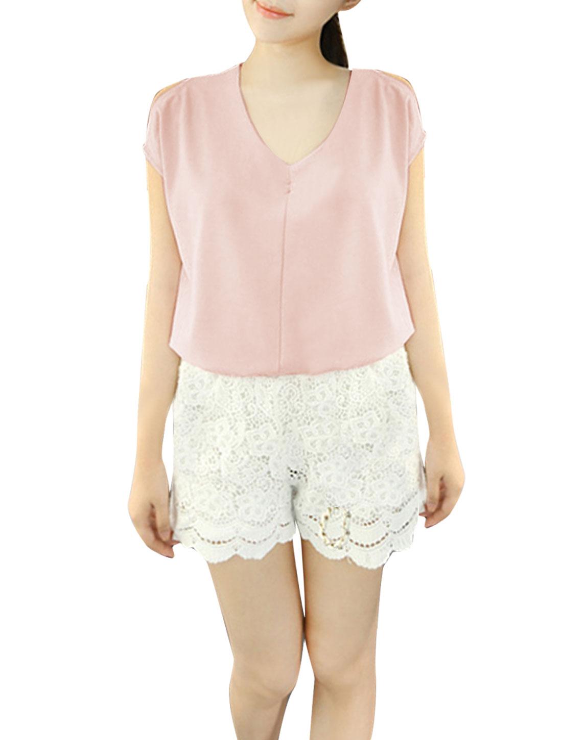 Women Deep V Neck Short Sleeve Pullover Top Shirt Light Pink S