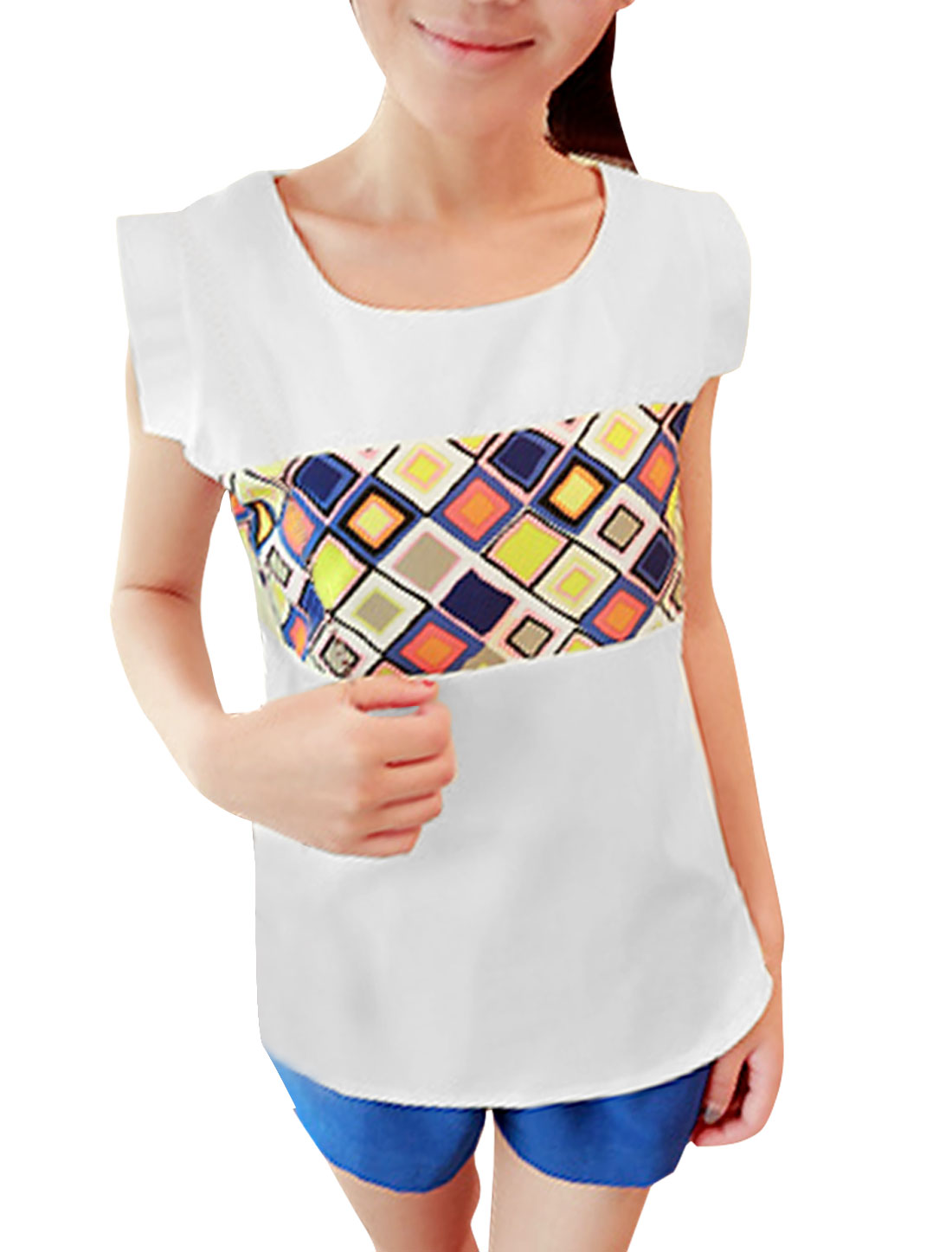 Women Sleeveless Round Neck Design Argyle Pattern Summer Blouse White S