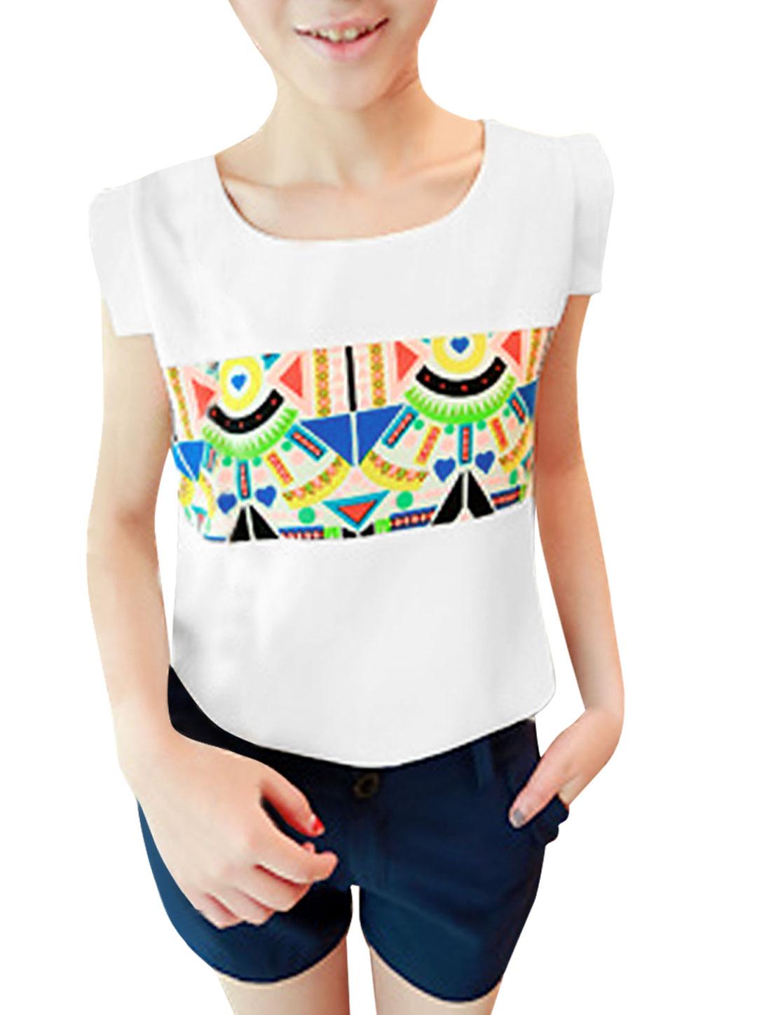Women Sleeveless Round Neck Design Semi Sheer Chiffon Blouse S White
