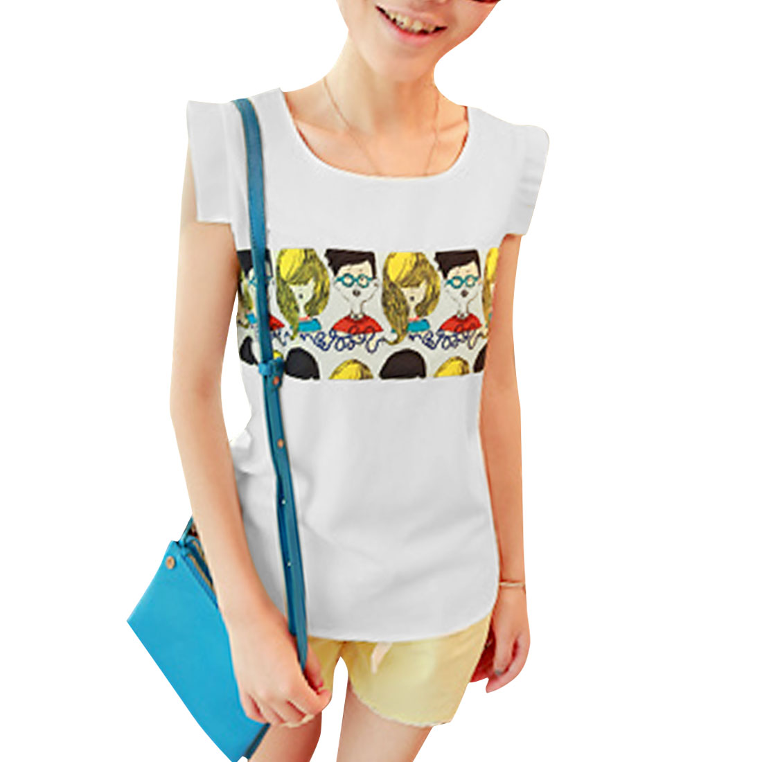 Women White S Sleeveless Portrait Pattern Round Neck Chiffon Blouse