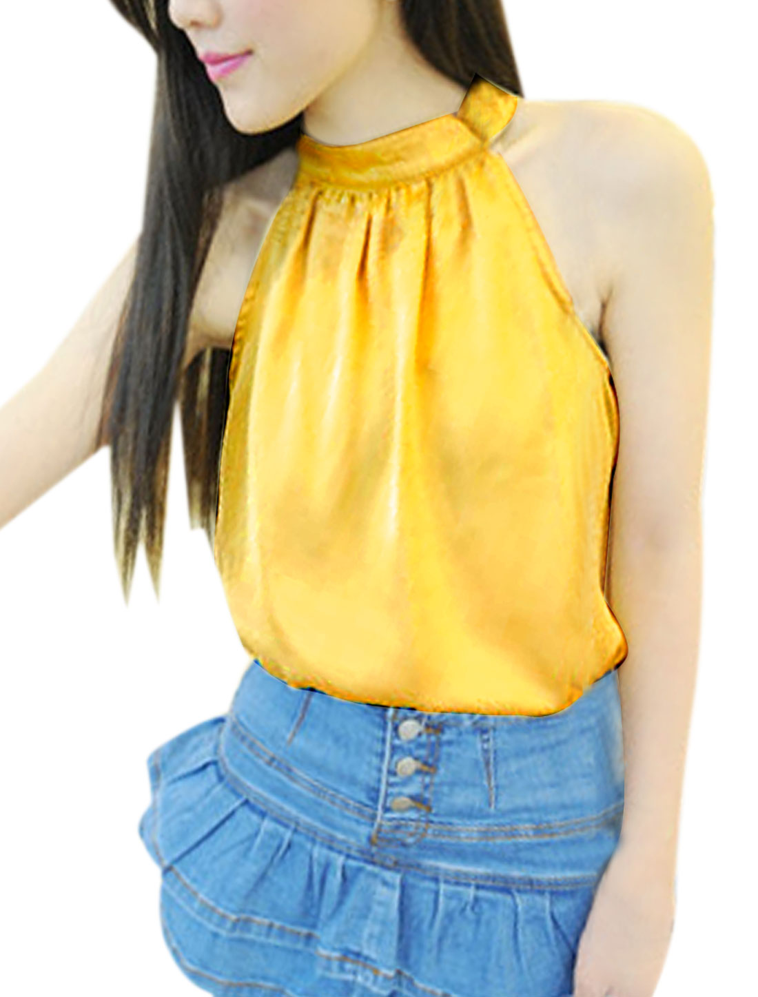 Ladies Mock Neck Strapless Sexy Comfortable Yellow S Top