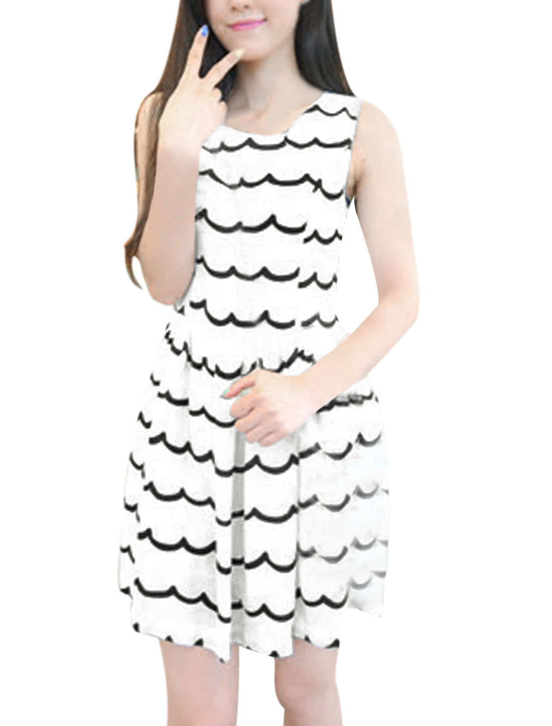 Ladies Wave Stripes White Comfortable Round Neck Sundress XS