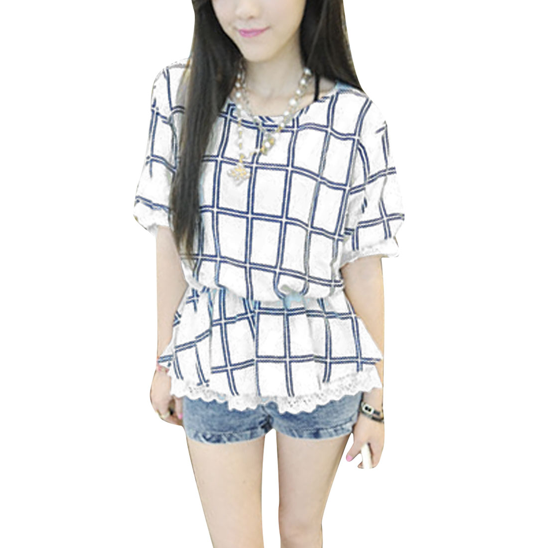 Women Short Sleeve Round Neck Design Plaids Pattern Tunic Shirt White XS