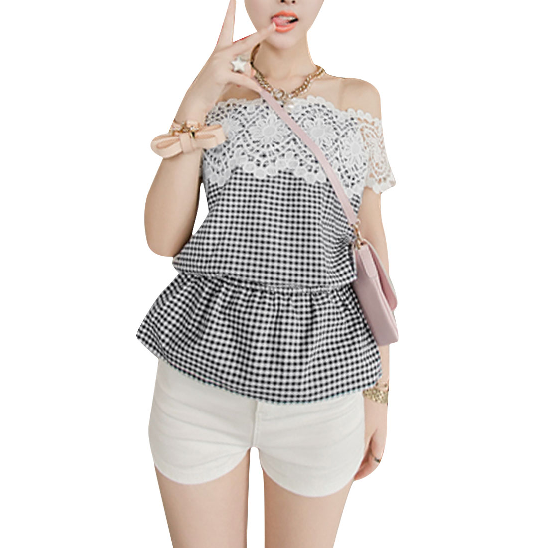 Women S Strapless Off Shoulder Design Plaids Pattern Blouse Black White