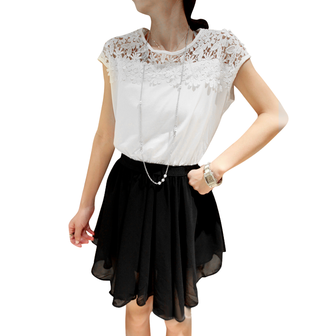 Women Round Neck Raglan Sleeve Crochet Dress White Black XS