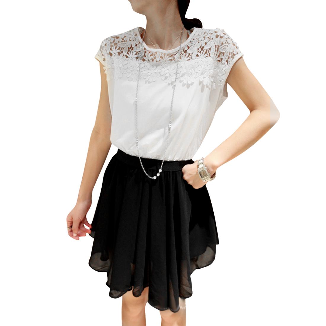 Women Round Neck Raglan Sleeve Crochet Dress White Black XS