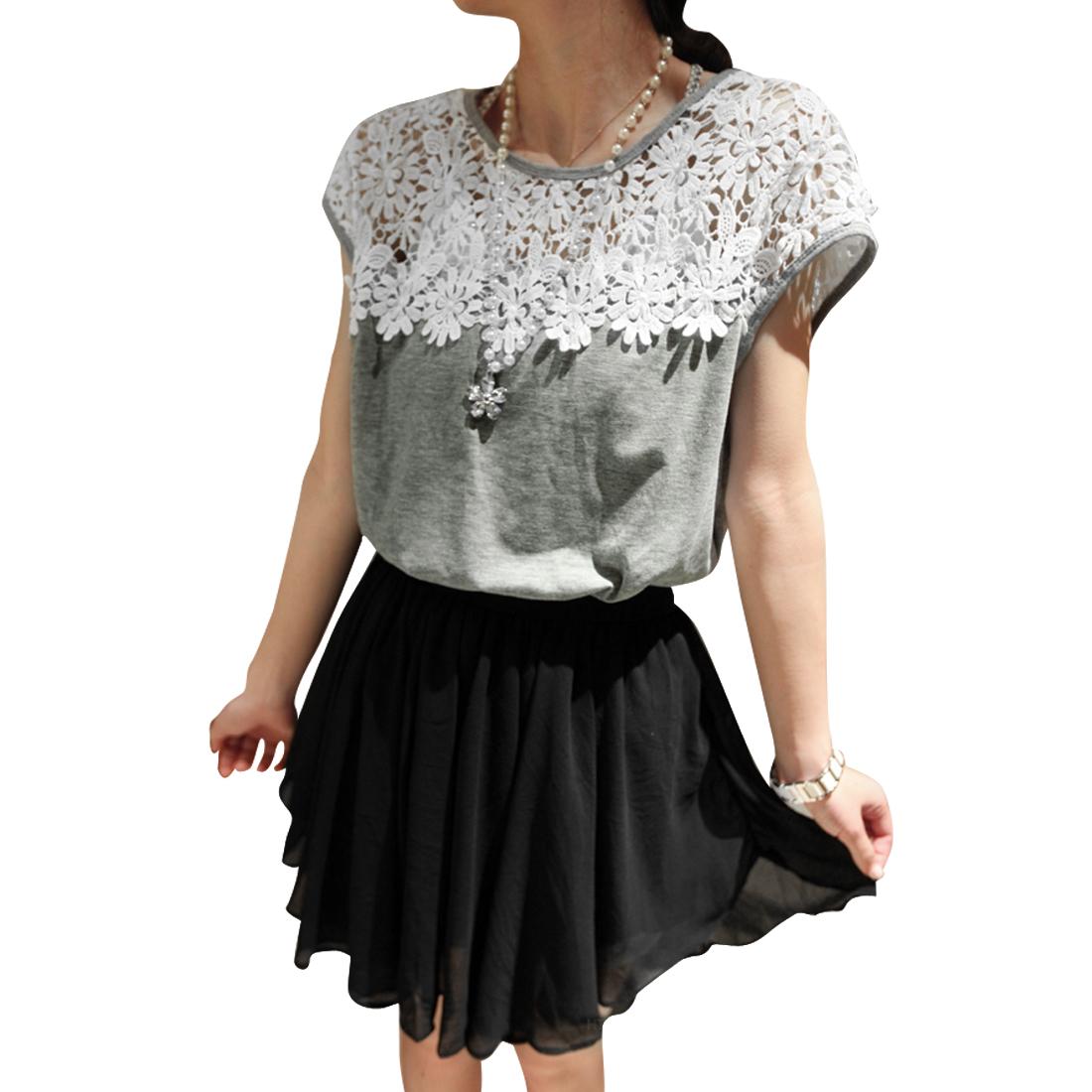 Women Pullover Color Blocking Shift Dress Light Gray Black XS
