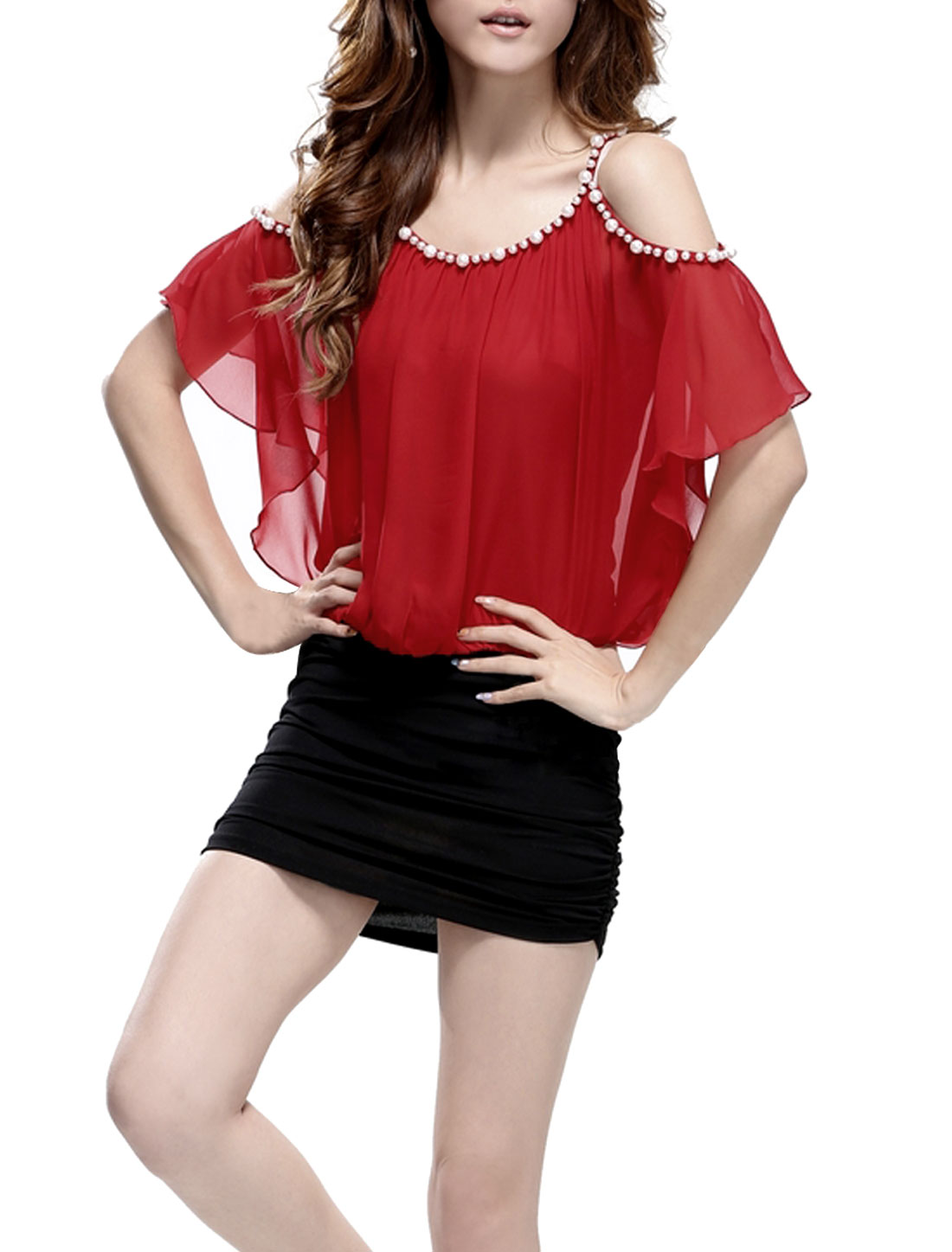 Women Spaghetti Strap Cut Out Casual Dress Red Black XS