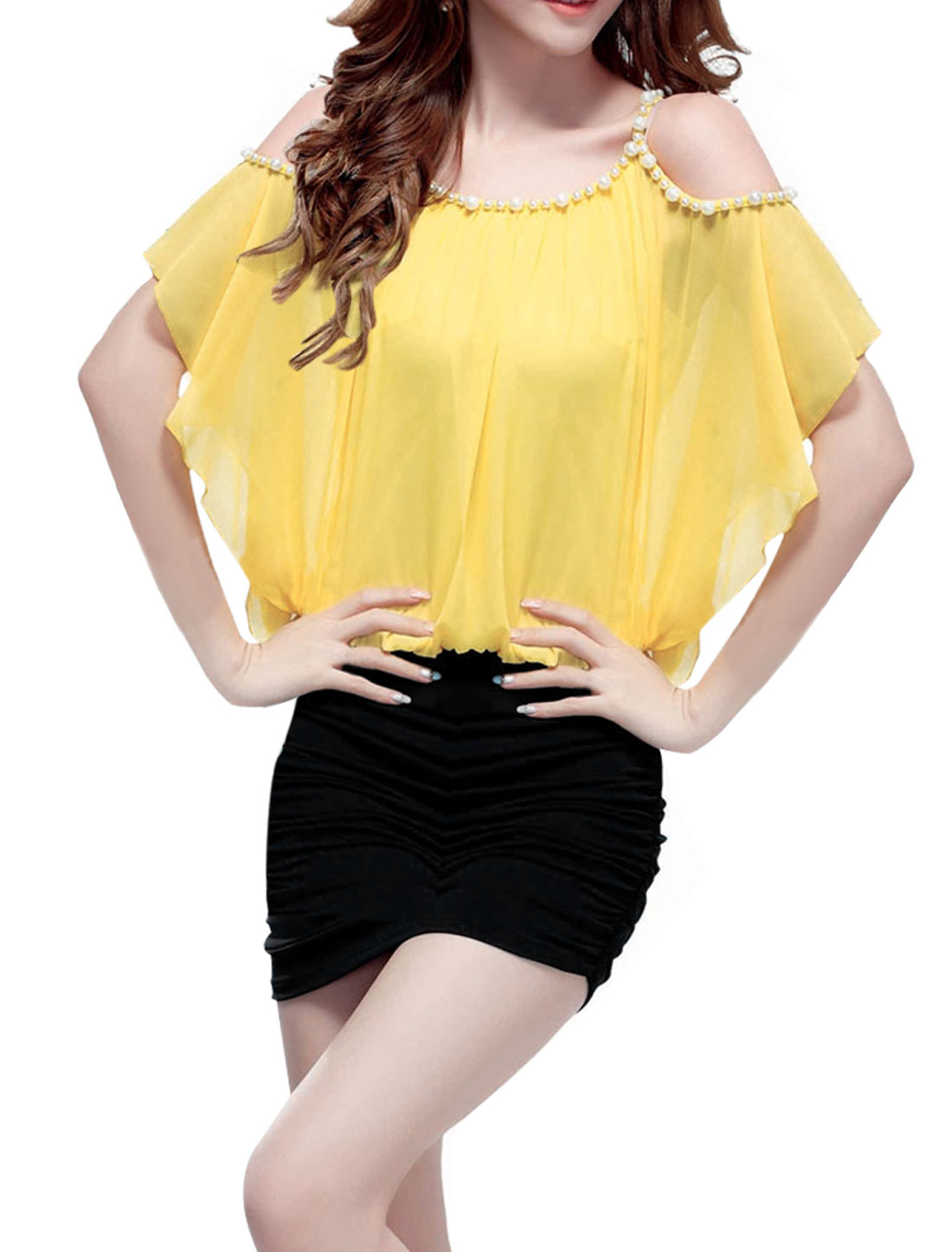 Women Unremoverable Strap Pullover Splice Dress Yellow Black XS