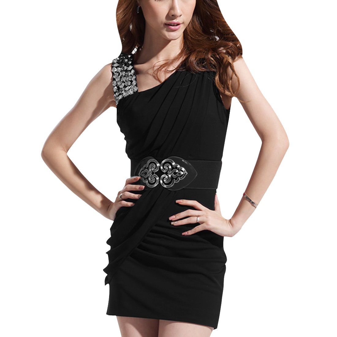 Women One Shoulder Rhinestone Decor Belt Dress Black XS
