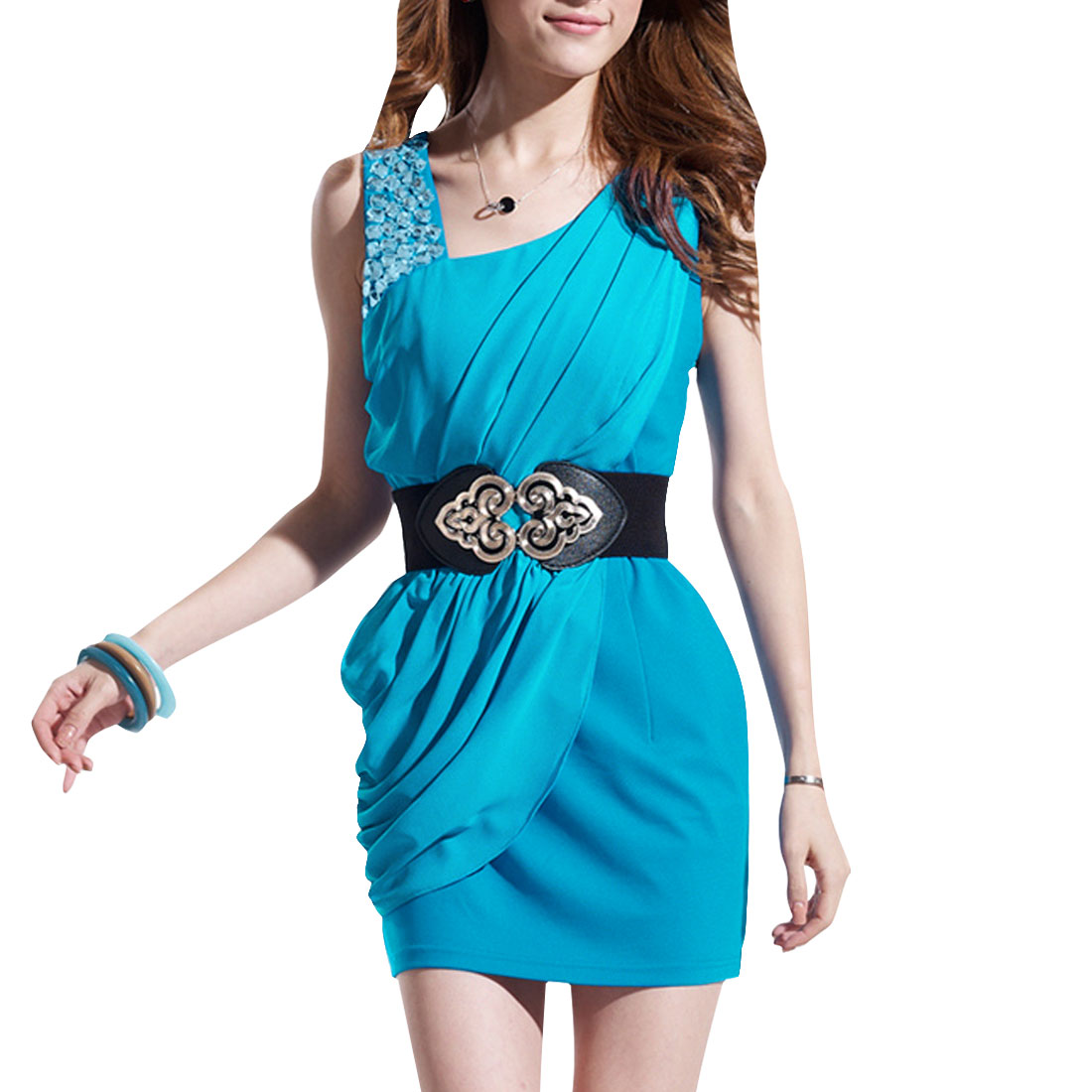 Women Sleeveless Rhinestone Decor Sheath Dress Blue XS
