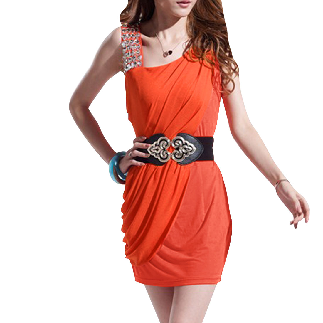 Women One Shoulder Sleeveless Mini Dress Orange XS