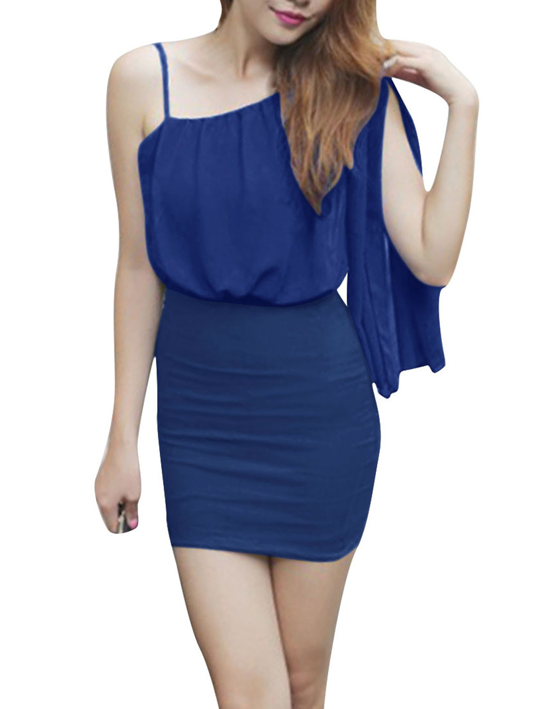 Ladies Solid Color Slim Fit Design Sexy Casual Dress XS Blue