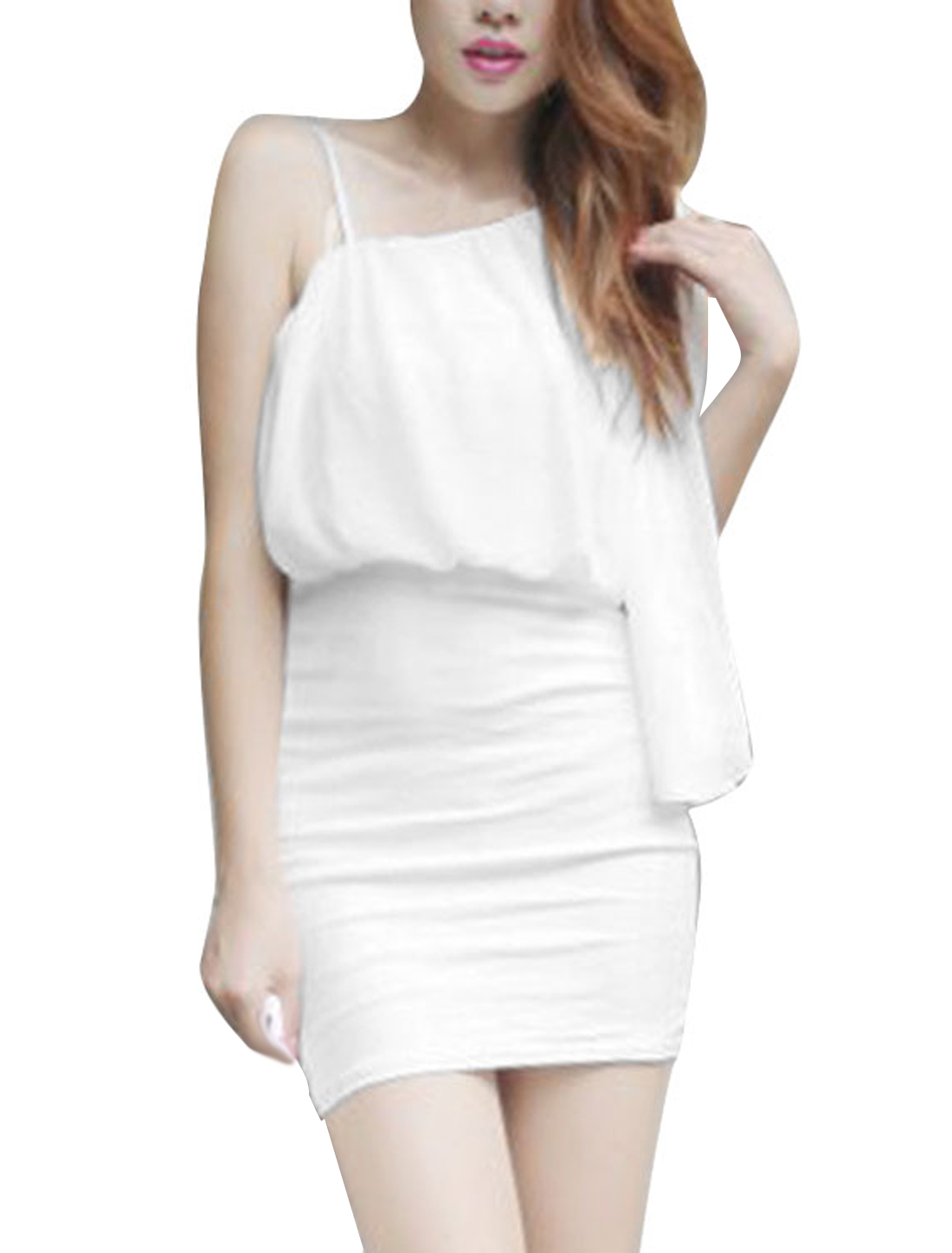 XS White Skinny Fit Stretchy Style One Shoulder Women Hot Fashion Dress
